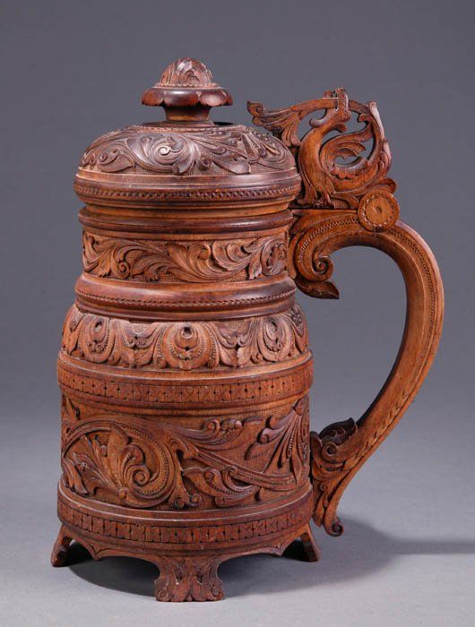 wooden beer steins   318: Scandinavian or Germanic carved wooden beer stein : Lot 318