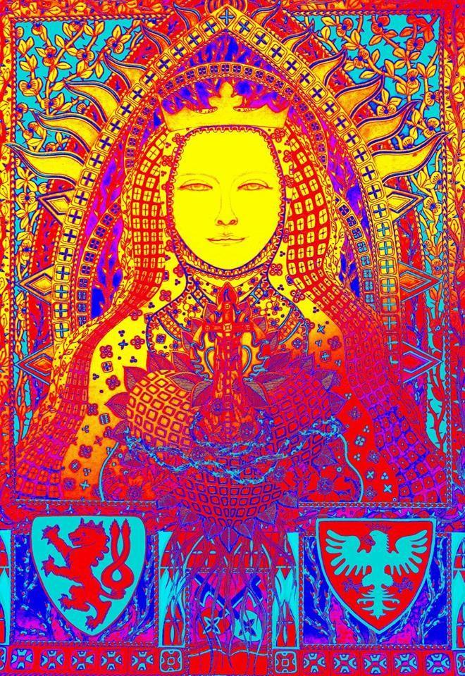 Eliška Přemyslovna *Královna česká 1292 - 1330 https://cs.wikipedia.org/wiki/Eli%C5%A1ka_P%C5%99emyslovna ilustrace 6/7/2016 Johana Hájková Autorská perokresba, karton formát A1, tuš, barva gold, silver, metalicblue  upraveno