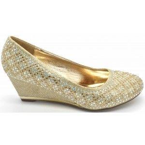 Ladies Glitter Wedge Heel Pumps Sandals - Wilfordshoes.com