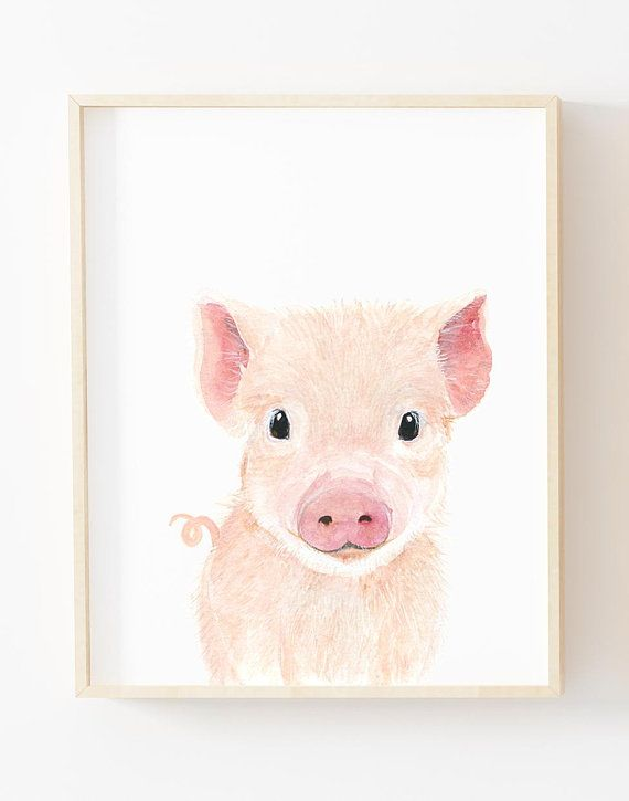 Nursery Prints Boy Farm Pig Print Nursery Art Baby Animals Nursery