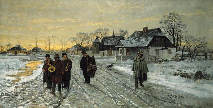 """""""Travelling Musicians"""" (1880) by Franciszek Streitt (Polish,1839-1890), oil on canvas, 79 x 153, Raczynski Foundation at the National Museum in Poznan."""