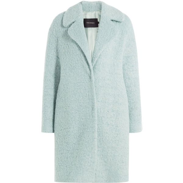Tara Jarmon Coat ($435) ❤ liked on Polyvore featuring outerwear, coats, turquoise, green coat, lapel coat, slim coat, slim fit coat and fur-lined coats