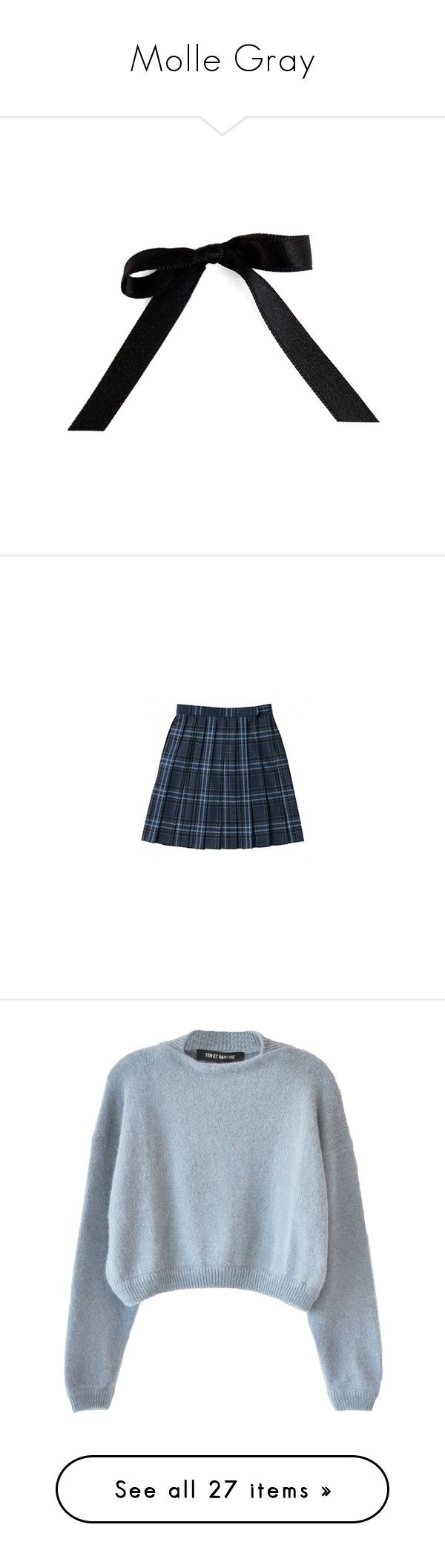 """""""Molle Gray"""" by thrasherxbrooke ❤ liked on Polyvore featuring fillers, bows, accessories, black, black fillers, skirts, bottoms, saias, blue and checked skirt"""
