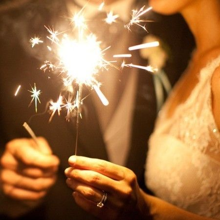 With the sparklers.