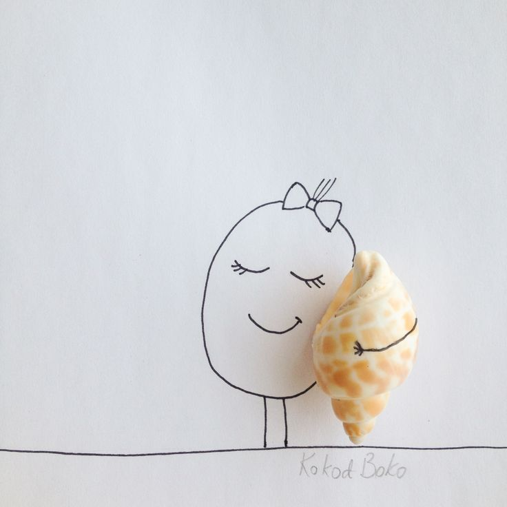 Listen to the sea :) #kokoboko #koko #story #sea #shell #art #cute #illustration #drawing #girl #smile #happy