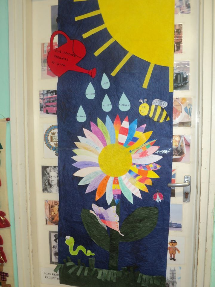 Spring door decoration in the language classroom for Door design accessories