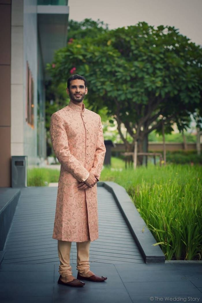 Groom Wear - The Dapper Groom! Photos, Hindu Culture, Beige Color, Destination Wedding, Groom Sherwani, Designer Groom Wear pictures, images, vendor credits - The Wedding Story, WeddingPlz