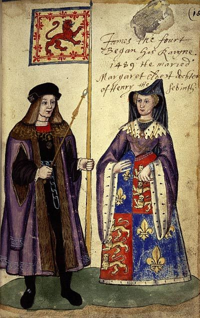 On this day 8th August, 1503, James IV of Scotland  and Margaret Tudor were married in Hoylrood Abbey, Edinburgh, Scotland. The match had been negotiated by Margaret's father, King Henry VII in an attempt to secure England's northern border