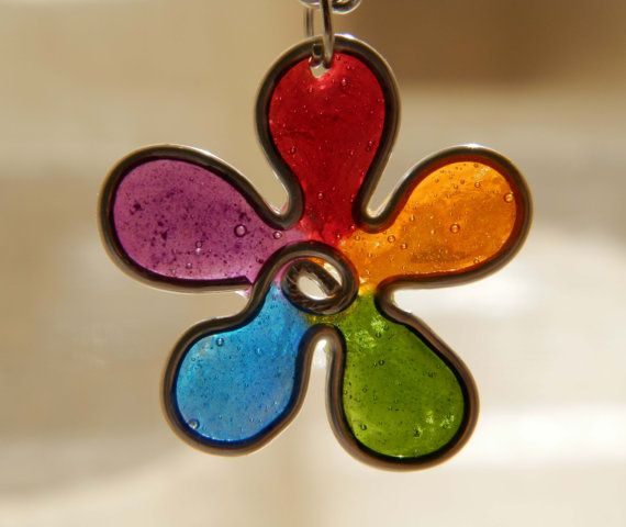 rainbow daisy necklace colorful daisy pendant  by TheHappyLollipop