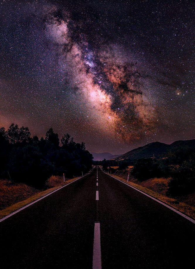 Milky Road By Luca Libralato Milkyway Sky Stars Beautiful Nature Landscape Night Road Roa Beautiful Night Sky Night Sky Wallpaper Road Photography