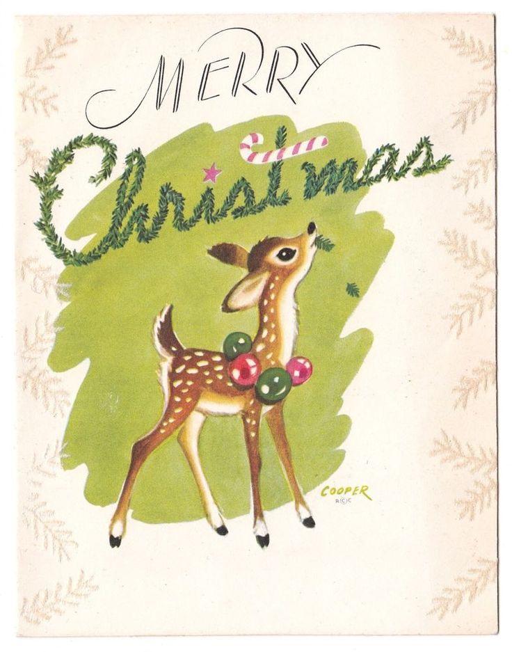 UNUSED Vintage Greeting Card Christmas Deer Bambi Artist Signed Marjorie Cooper