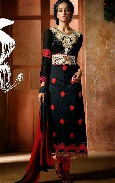 Enigmatic Black Color Indian Churidar Kameez