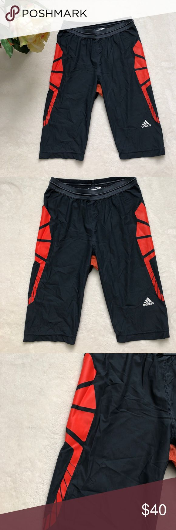 "⭐️Adidas⭐️bike running sport shorts grey orange Approximately measurements: Length: 20"" Waist: 24"" with elastic  Materials: 75% nylon, 25% elastane  Condition: This item is pre-owned but in great condition with no stains. Comes from a smoke free home.  Size: USA L but for boys, men size S, XS adidas Shorts Athletic"