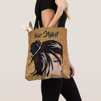 Hair Stylist with Gold Glitter Personalized Tote Bag - gold gifts golden customize diy