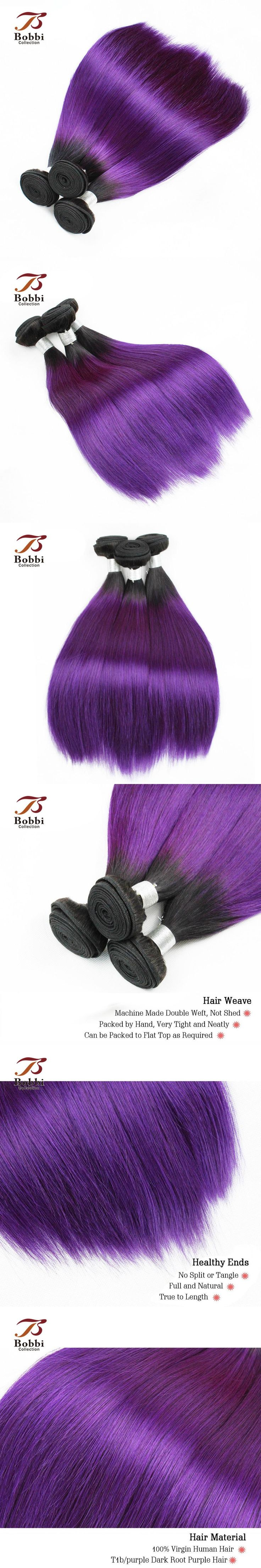 T 1B Purple Ombre Brazilian Hair Weave 1 Bundle Silky Straight Dark Root Red Fashion Color Human Hair Extension Bobbi Collection