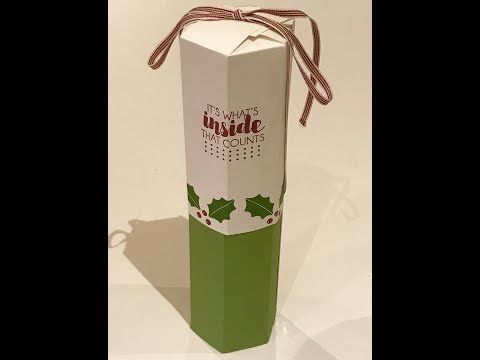 (58) Full Size Wine Bottle Gift Box - Video Tutorial with Trim Your Stockings by Stampin' Up - YouTube