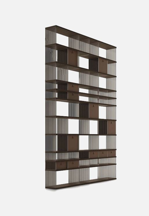 doublesided steel and wood bookcase diesys by alivar design giuseppe bavuso