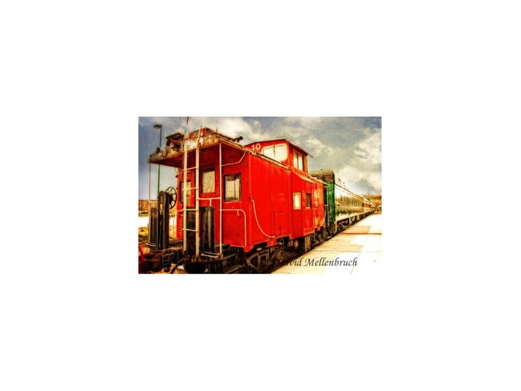 Red Caboose, Train, Railroad, Vintage, Travel, Wall Decor, Fine Art, Texture