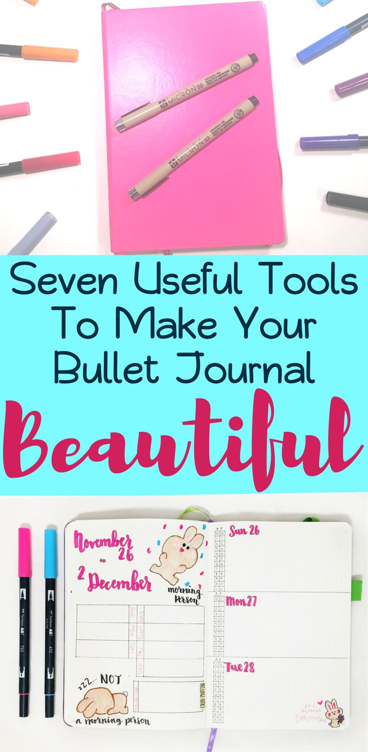 Seven epic bullet journal tools that will help make your bujo extra beautiful! These tools have helped my bullet journal thrive, have helped me maintain organization in my bullet journal over the last year. Great reference guide for people who want to know how to start a bullet journal. Recommends supplies such as notebooks and pens. Also includes some inspirational sources to make your bujo successful! #bulletjournal #bujo #stationery #diy #planner