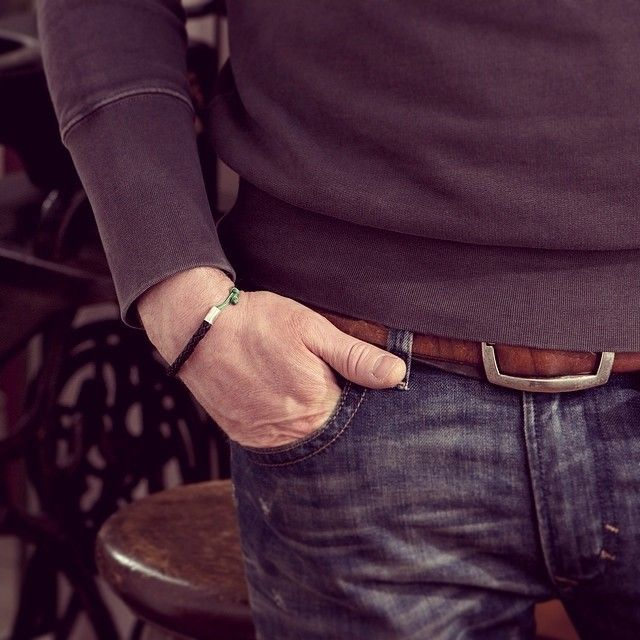 www.877workshop.com — Men's black leather bracelet green sailing rope