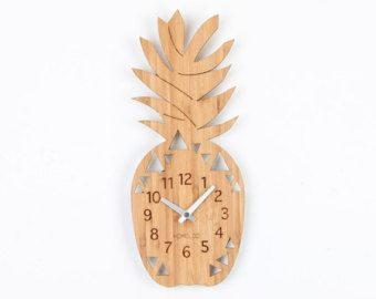 Bamboo Wood Kids Wall Clock - Pineapple Fruit