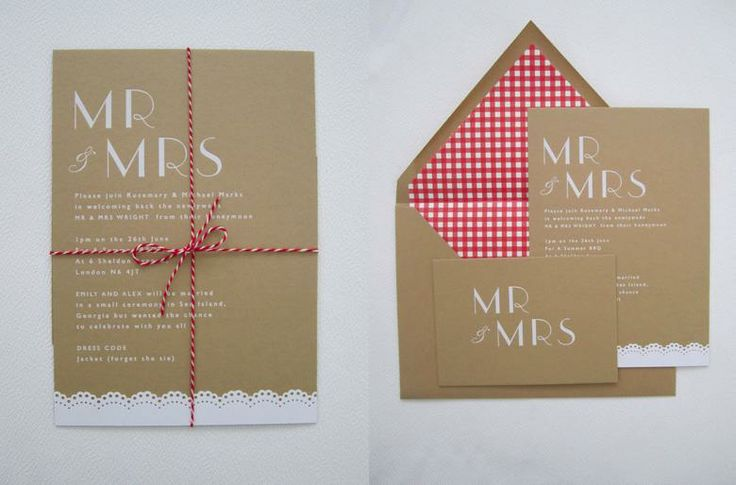 Love the red gingham envelope liner with kraft paper via Brownpaper Designs, which is sadly no more.