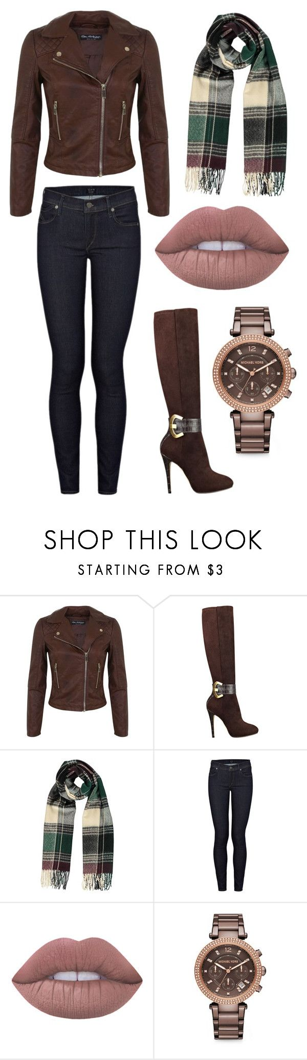 """Autumn Chic"" by alphashe on Polyvore featuring Miss Selfridge, GUESS, Citizens of Humanity, Lime Crime, Michael Kors, casual, chic and brown"