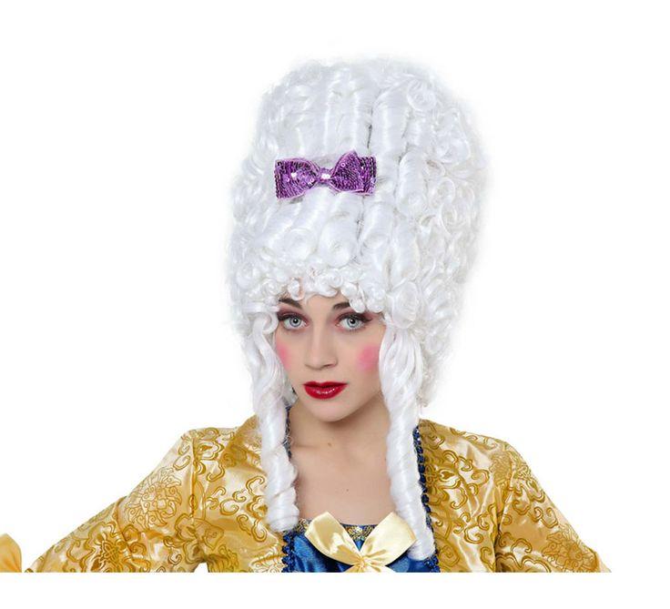 Peluca blanca de Mujer del Barroco con lazo. Peluca de Época blanca con lazo.