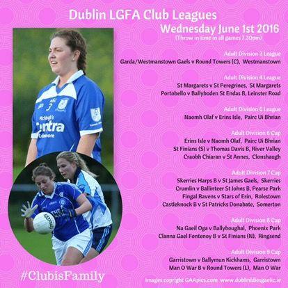 We Are Dublin TONIGHT'S DUBLIN LADIES FOOTBALL ADULT CLUB LEAGUE AND CUP FIXTURES - We Are Dublin