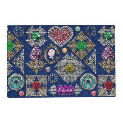 Gorgeous Victorian Jewelry Brooch Gemstone Collage Placemat - glitter glamour brilliance sparkle design idea diy elegant