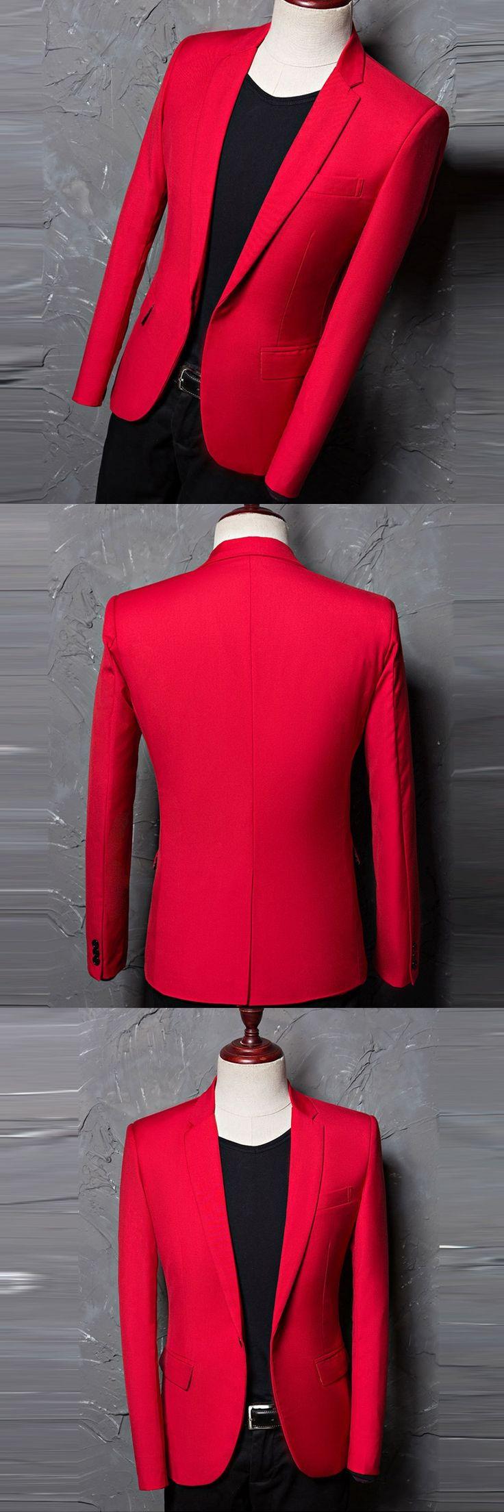 Red Blazer men 2017 New Fashion Men Jacket Casual Designer Brand Costume Homme Men suit Blazers Printed 984618