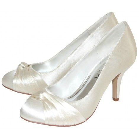 Grace by Perfect Bridal Shoe Company Ivory and White Vintage Dyeable Wedding or Occasion Shoes
