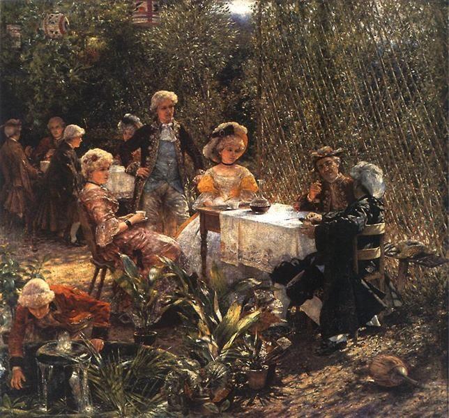 Aleksander Gierymski  - W altanie Date: 1882 Impressionism