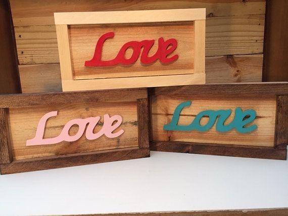 Framed Pallet Wood Love Sign, Valentine's Day Pallet Sign, Pallet Love Sign, Reclaimed Wood Love Sign, Script Love Letters on Pallet Wood