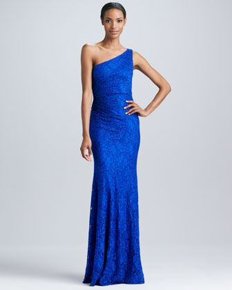 One-Shoulder Lace Gown by David Meister at Neiman Marcus.