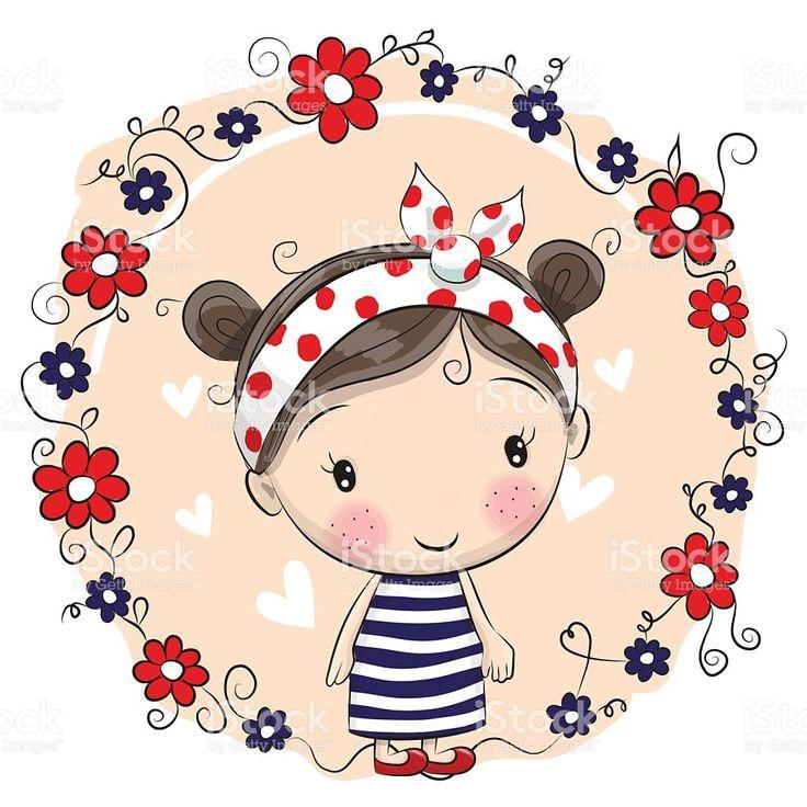 Cute Cartoon Girl and flowers vetor e ilustração royalty-free royalty-free