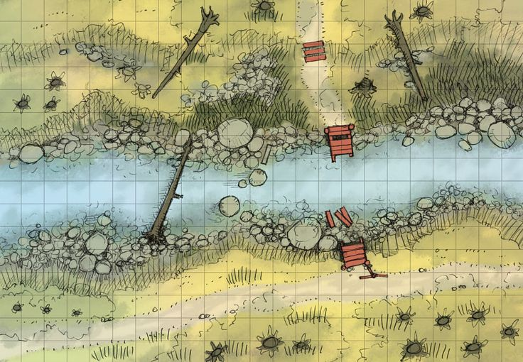 The Autumn Stream, a battle map for D&D / Dungeons & Dragons, Pathfinder, Warhammer and other table top RPGs. Tags: river, water, bridge, wilderness, road, forest
