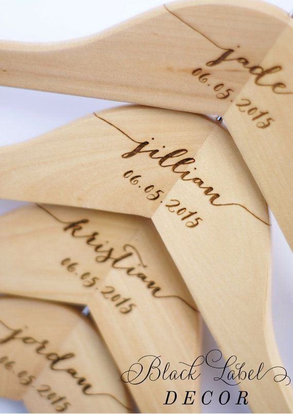 Premium Engraved Maple Hangers for Wedding Parties by Black Label Decor