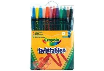 Twistable Crayons  A pack of crayons that are twisted as more crayon is needed.  http://www.goodtoyguide.com/toy/twistable-crayons-crayola/?res=WyIxMCJd#