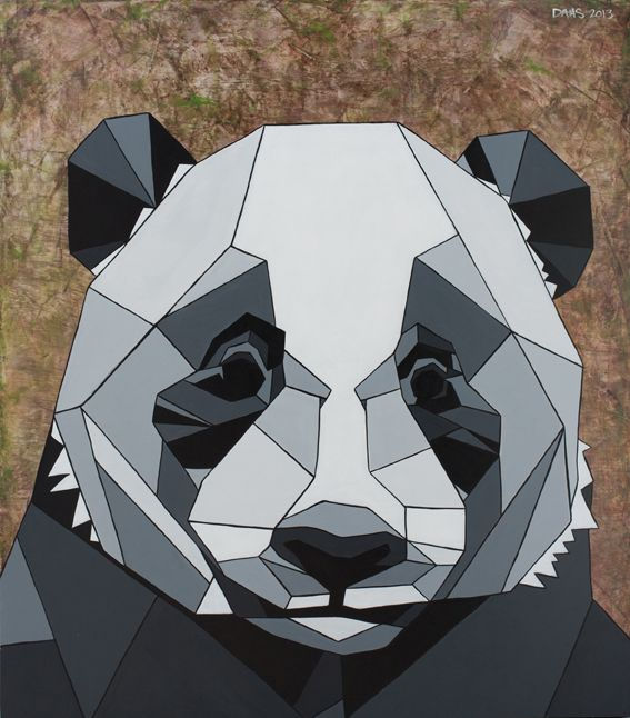 Geometric inspired painting of a Panda by DAAS