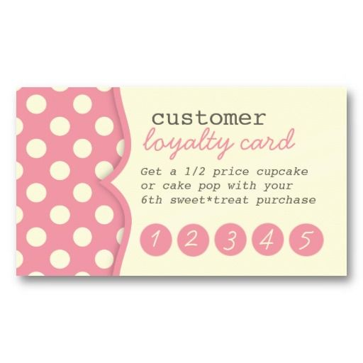 frequent diner card template - cute polka dots customer loyalty business card loyalty