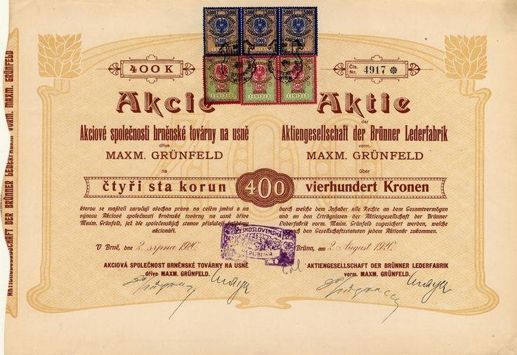 Akciová společnost brněnské továrny na ušně dříve Maxm. Grünfeld (AG der Brünner Lederfabriken vorm. Maxm. Grünfeld). Akcie na 400 Kč. Brno, 1920.