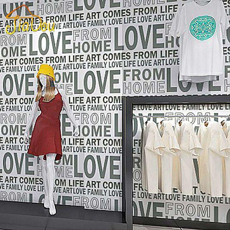 3D İngilizce Harfler Duvar Kağıdı AŞK Giyim Mağazası Kahve Dükkanı Moda Kadınlar Siyah Ve Beyaz Renk Su Geçirmez Duvarlar Için Duvar Kağıdı(China (Mainland))