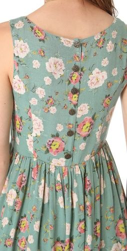 Flower print on mint summer dress