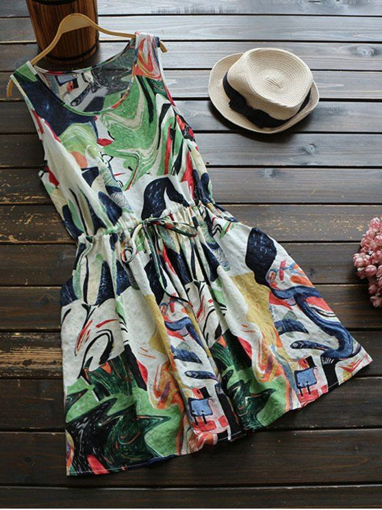 $20.49 Sleeveless Abstract Print Drawstring Waist Dress - COLORMIX ONE SIZE