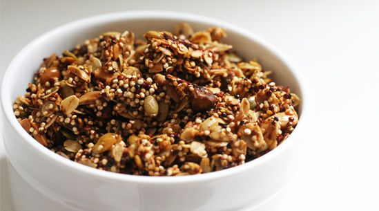 Quinoa Clusters are the new croutons | We mix uncooked quinoa and oats with nuts and seeds, toss it all with coconut oil and bake until crunchy. The result, which is basically a savory version of granola, will liven up any bowl of greens better than cubed bread ever could. Plus, you can add 'em to soup or yogurt, or even scoop up a handful for an afternoon snack.