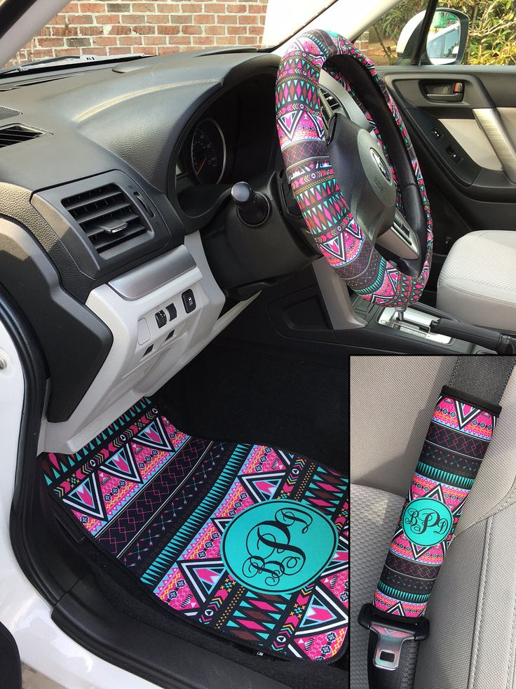 Aztec Tribal Car Accessories MIX AND MATCH Personalized Car Mats Steering Wheel Cover Seat Belt Covers Cute Car Accessories Floor Mats by ChicMonogram on Etsy