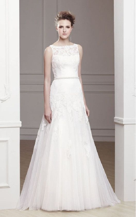 Modeca Ola 2013 Bateau Top and Lace Bridal Modest A-Line Gown