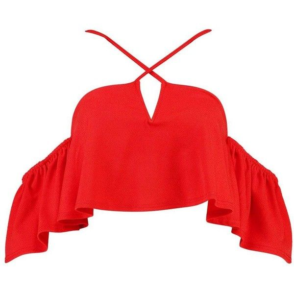 Boohoo Jessica Plunge Cold Shoulder Swing Crop (180 DKK) ❤ liked on Polyvore featuring tops, shirts, jersey crop top, bralet tops, red top, off the shoulder tops and cut off shoulder top