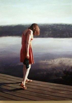 Swedish painter Karin Broos. Flickor,vatten och värmland.